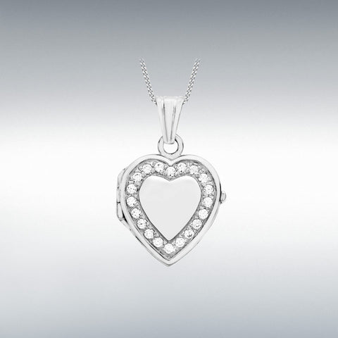 9CT WHITE GOLD CZ HEART LOCKET PENDANT