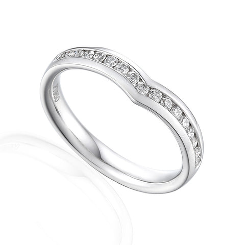 WISHBONE RING SET WITH DIAMONDS-Plain Wedding Band-Design Centre Jewellery