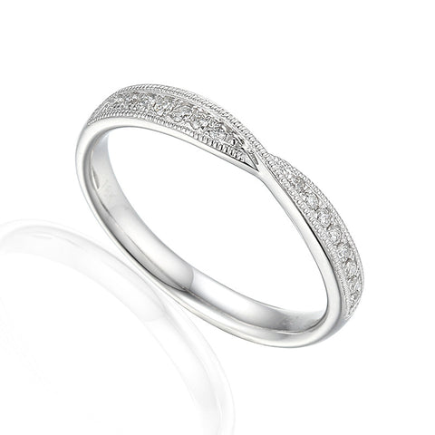 VINTAGE STYLE MILL GRAIN CROSS OVER RING-Plain Wedding Band-Design Centre Jewellery
