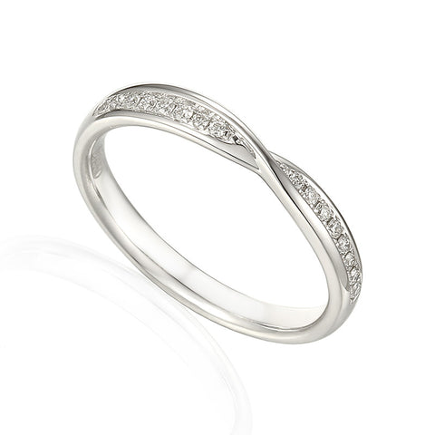 CROSS OVER DIAMOND SET WEDDING RING-Plain Wedding Band-Design Centre Jewellery