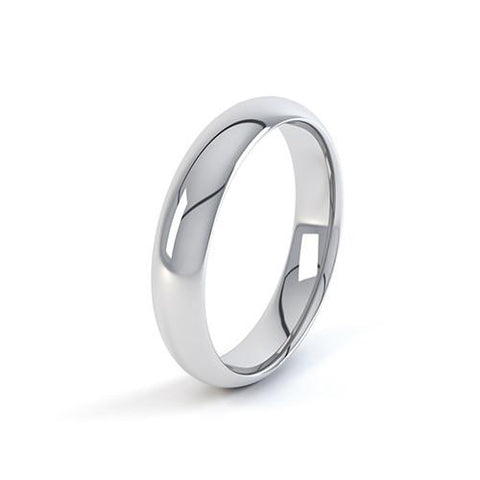 Slight Court Profile Wedding Band - Q Finger Size, 18ct-white-gold Metal, 4 Width