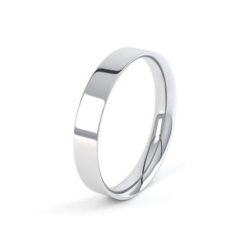 Slight Flat Court Profile Wedding Band - J Finger Size, 18ct-white-gold Metal, 3 Width