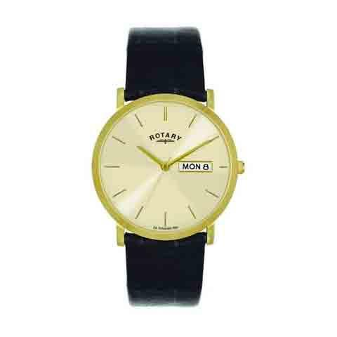 Rotary Gold Plated Leather Strap Watch - GSI02624/03/DD