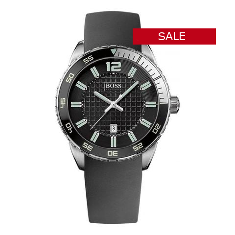 HUGO BOSS BLACK ROUND SILICONE STRAP WATCH