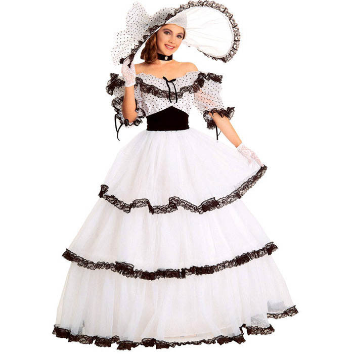 Southern Belle Costume Victorian Dress Adult Halloween Costumes For Women White Civil War Gown Ball