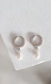 Pearl hoop earrings // Sterling silver