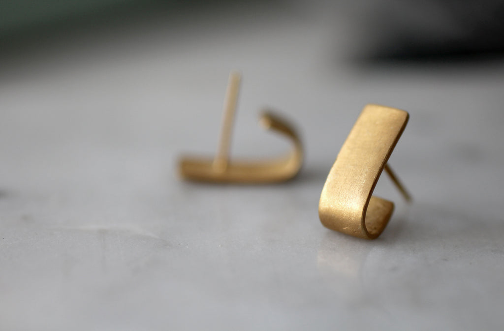 Rectangle silver studs // Sterling Silver