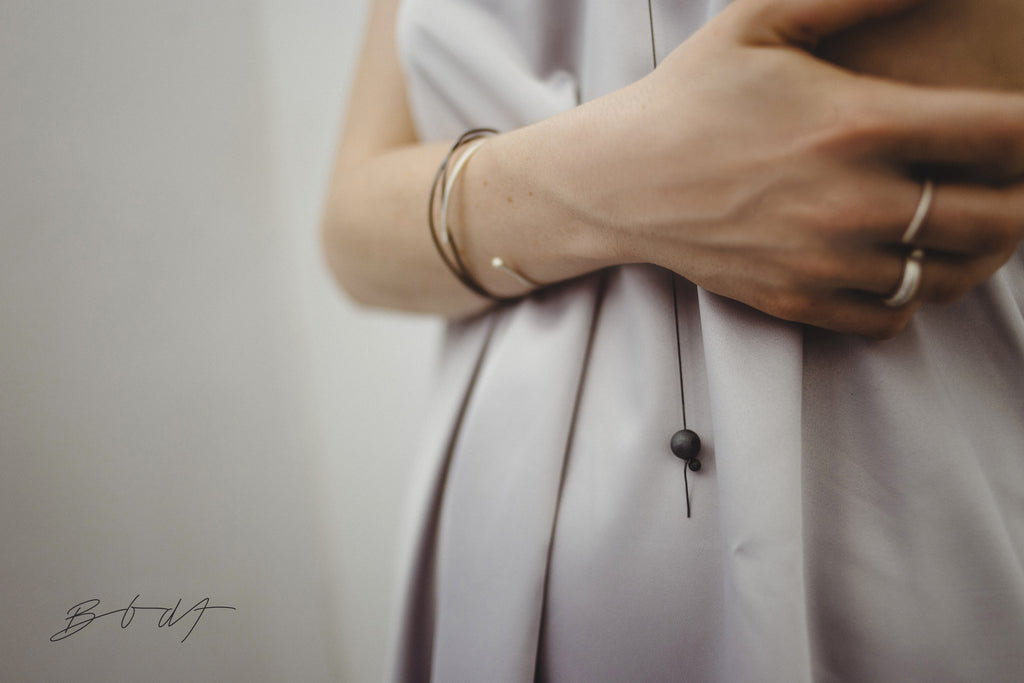 Ball & Chain  Necklace // Oxidized Silver