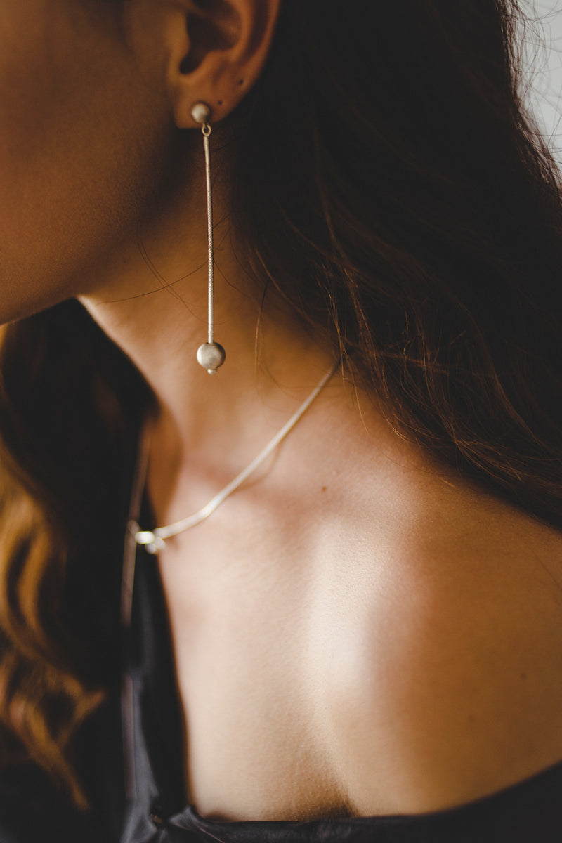 Ball & Chain Earrings // Sterling Silver