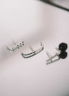 Black onyx line earrings // Sterling silver