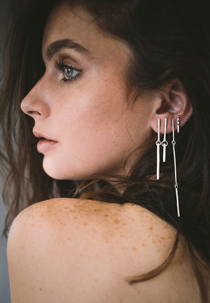 Extra Long Connection earrings // Sterling silver
