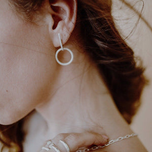Circle bar earrings // Sterling Silver