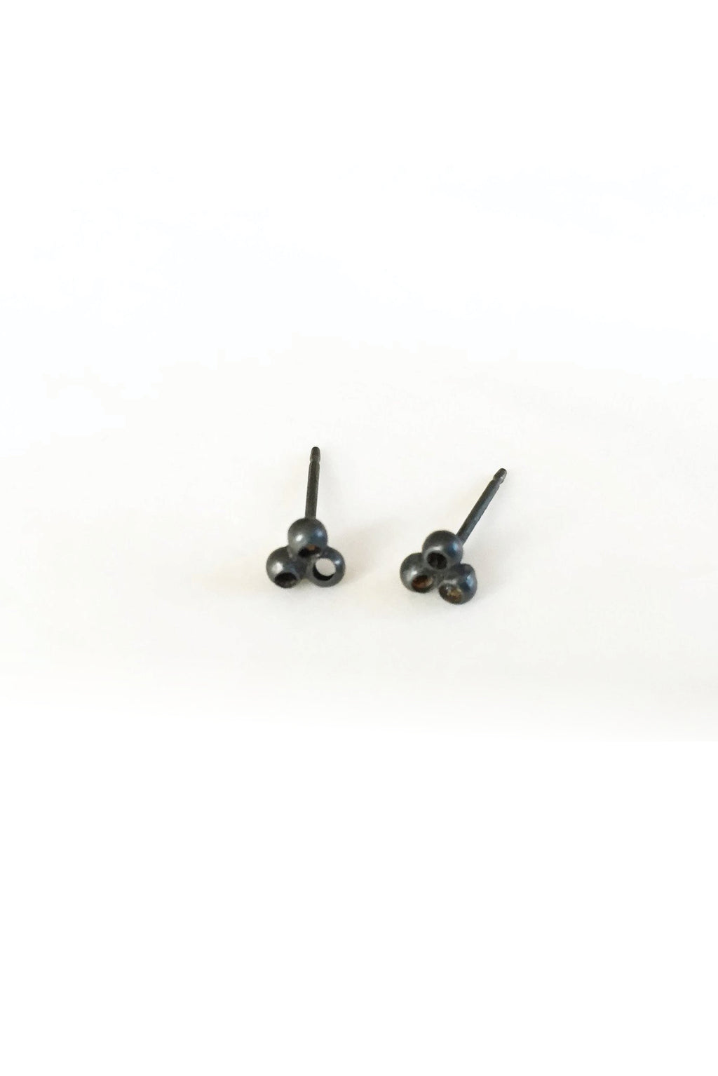 Earrings Lucky Clover// Oxidized Silver