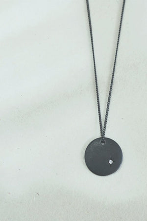 Disk necklace // Oxidized silver
