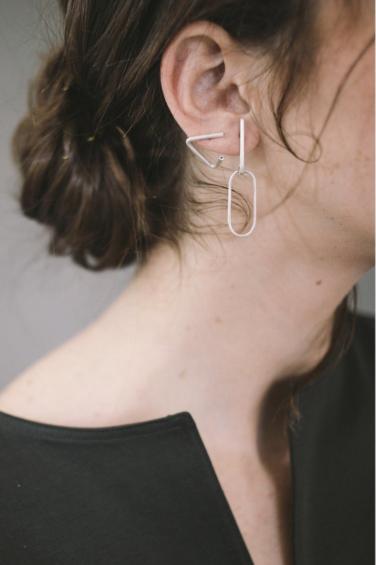 Ellipse bar earrings // Sterling silver