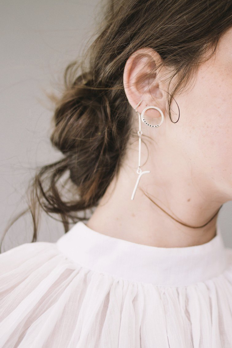 Long stud earrings // Sterling silver