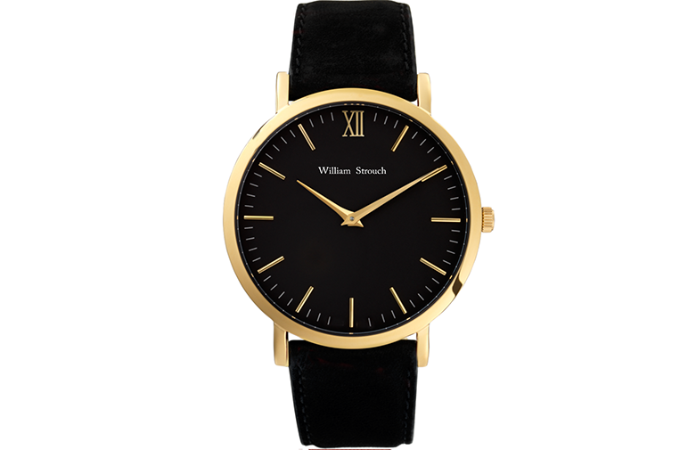 William Strouch Black And Gold Watch