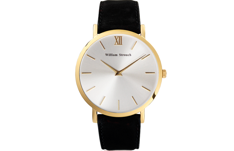 William Strouch Black And Silver Watch