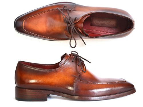 Paul Parkman Brown Leather Apron Derby Shoes