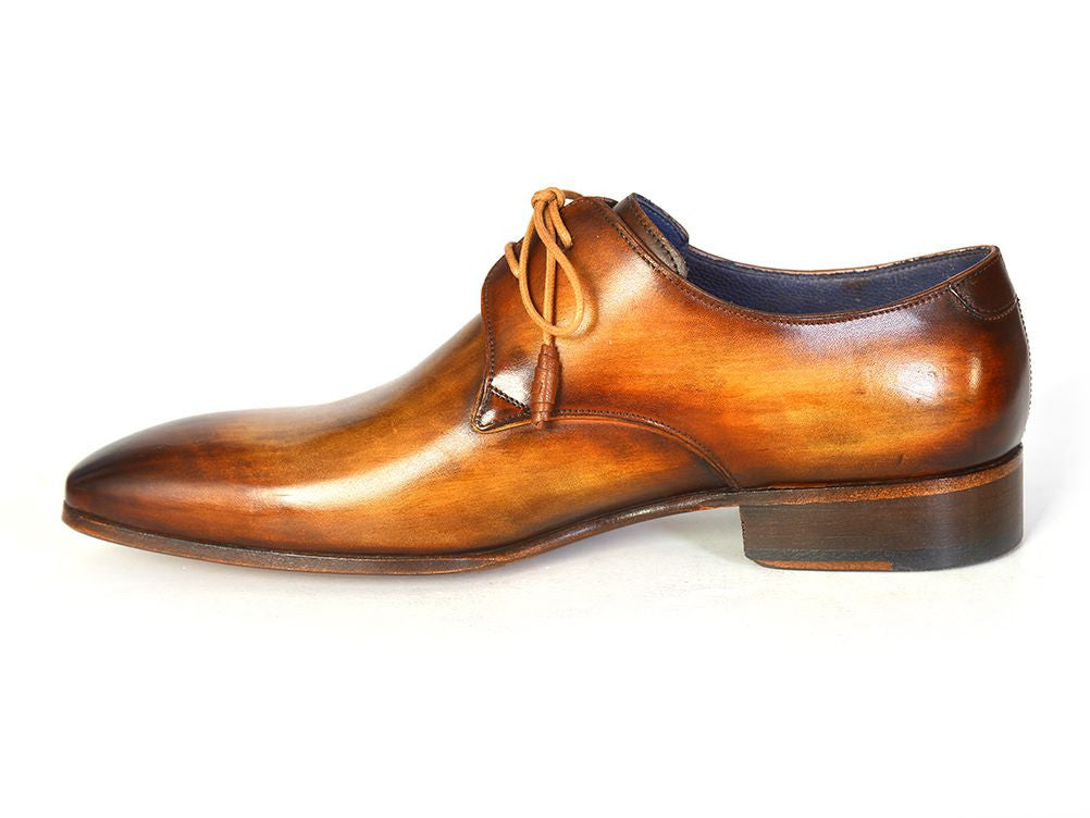 Paul Parkman Men's Brown & Camel Hand-Painted Derby Shoes