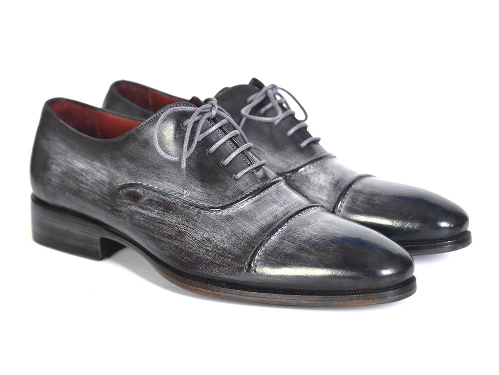 Paul Parkman Men's Captoe Oxfords Gray & Black Hand Painted Shoes