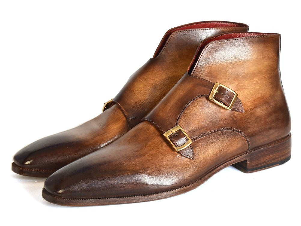 Paul Parkman Men's Double Monkstrap Boots Brown