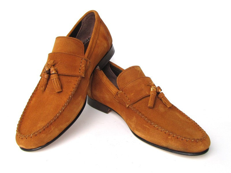 Paul Parkman Men's Bamboo Tassel Loafer Tobacco Suede