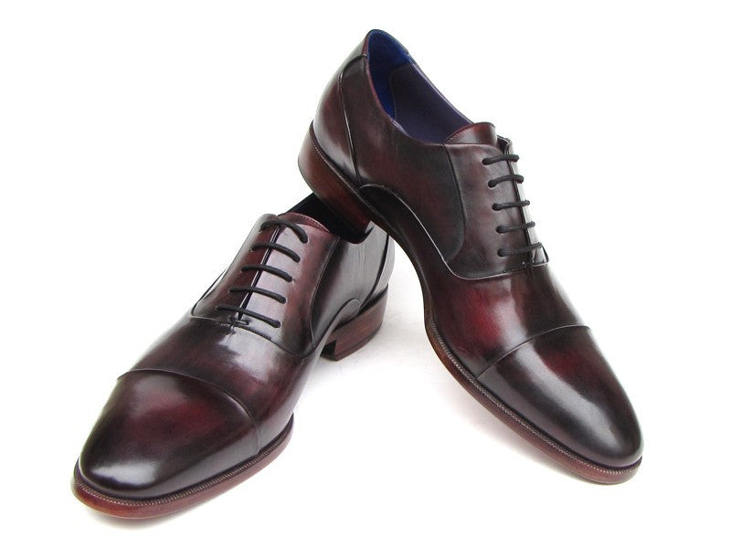 Paul Parkman Men's Captoe Oxfords Black Purple Shoes