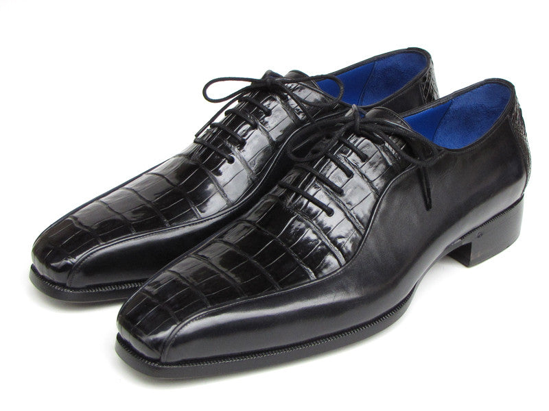Paul Parkman Men's Black Genuine Crocodile & Calfskin Oxford Shoe