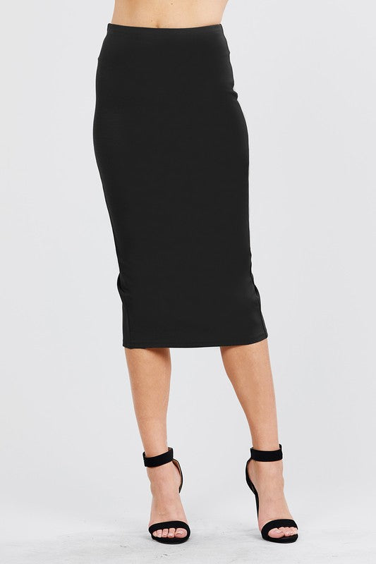Black Midi Pencil Skirt - My Royal Closet
