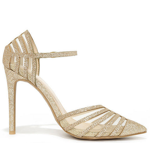 Gold Mesh Pumps