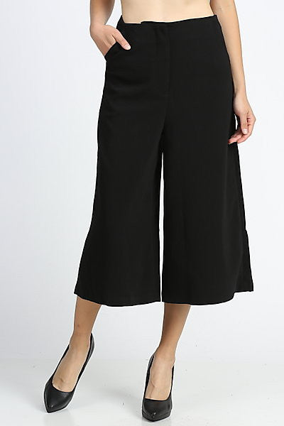 Wide Leg Black Culottes - My Royal Closet