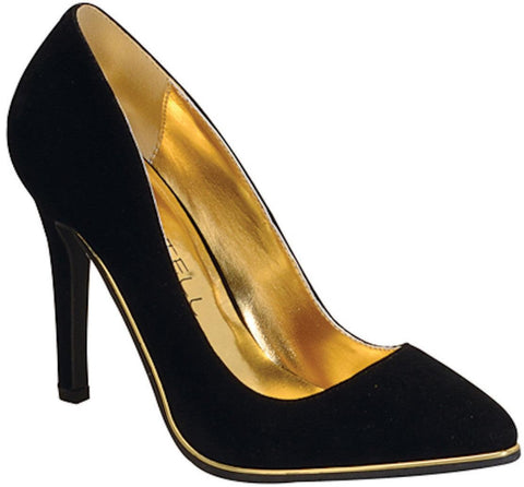 Black-Gold Trim Pumps