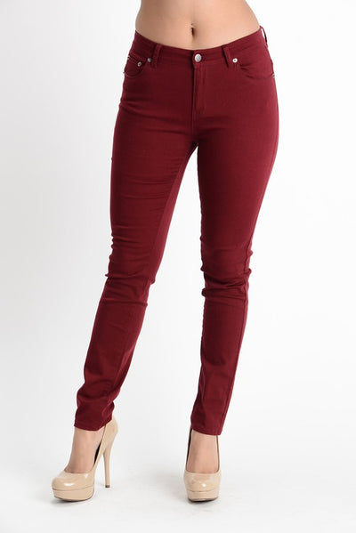 Burgundy Skinny Pants - My Royal Closet