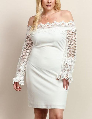 Royal Curves Allison Ivory Lace Midi