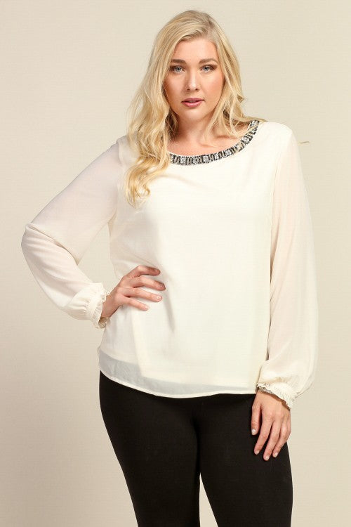 Royal Curves Gabriella Cream Blouse - My Royal Closet
