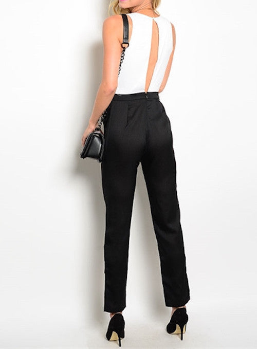 Carlie White/Black Jumpsuit - My Royal Closet