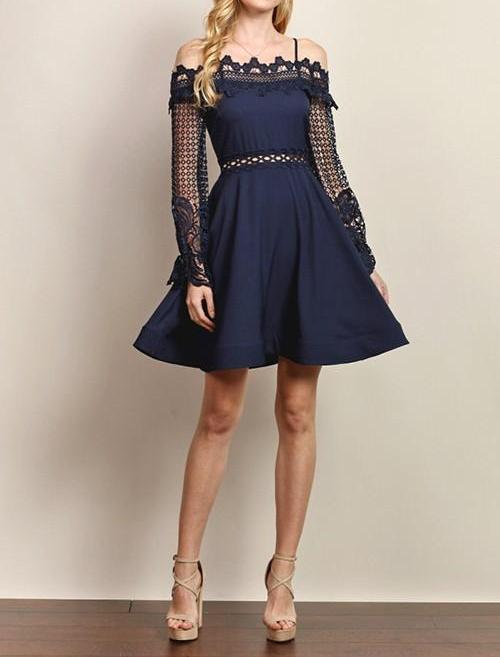 Navy Cocktail Dress - My Royal Closet