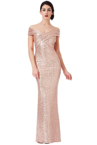 Cross Over Sequin Gown