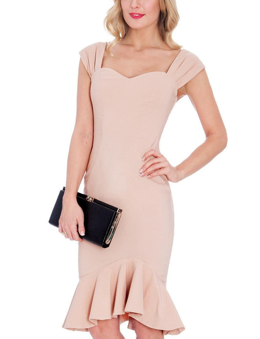 Danielle Nude Fishtail Midi - My Royal Closet
