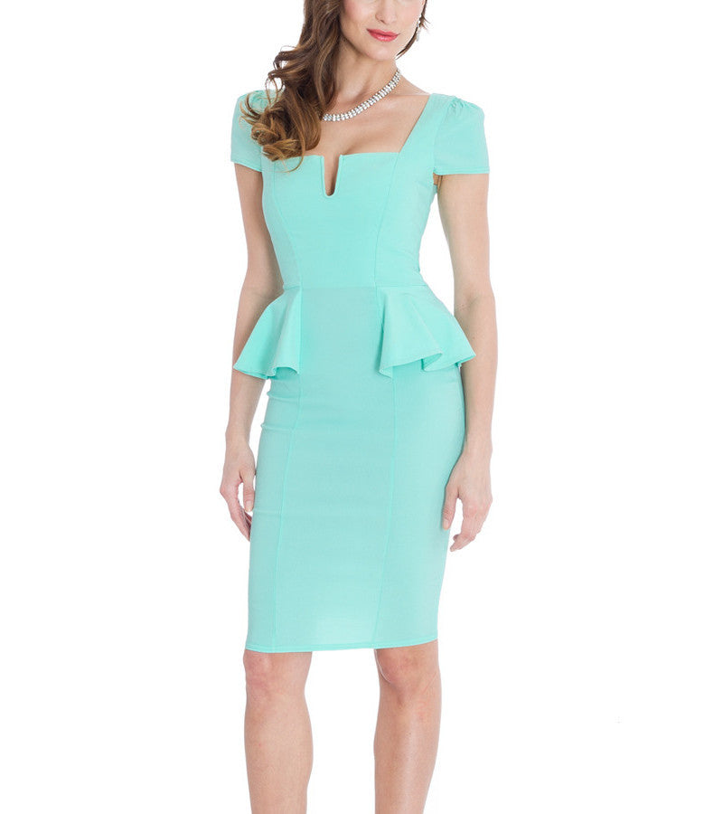 Side Peplum Cocktail Dress - My Royal Closet