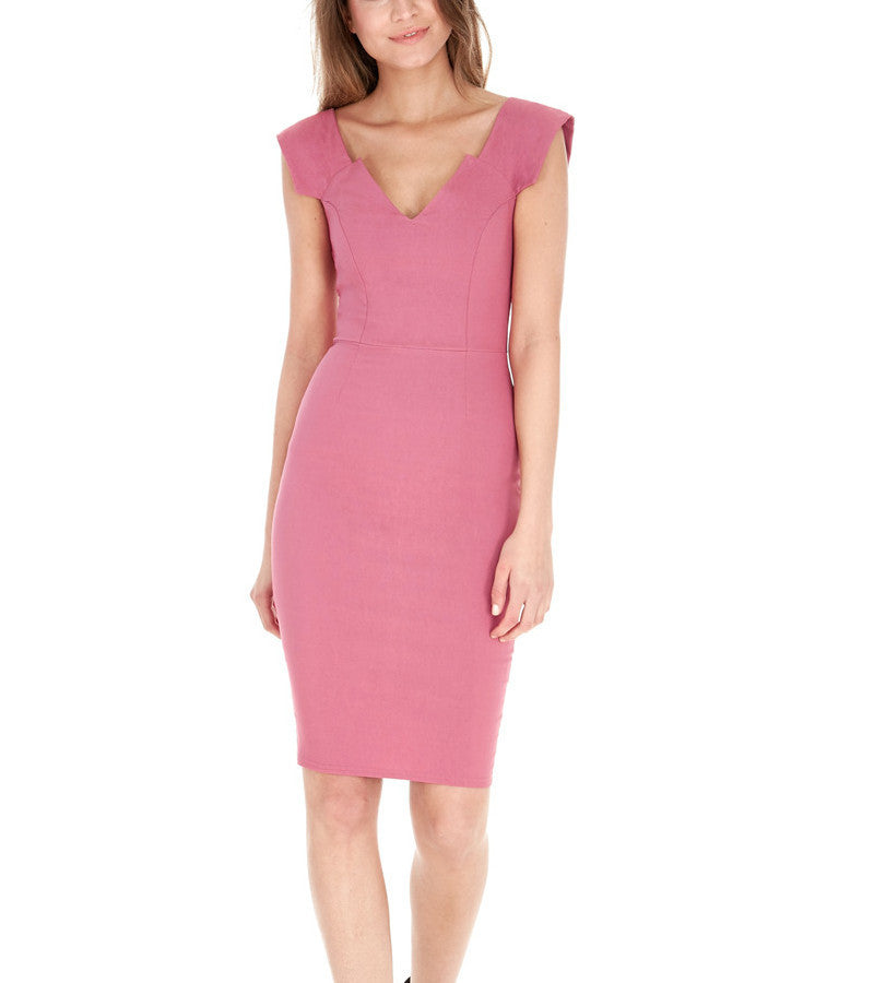 Jordan V-Neck Rose Cocktail Dress - My Royal Closet