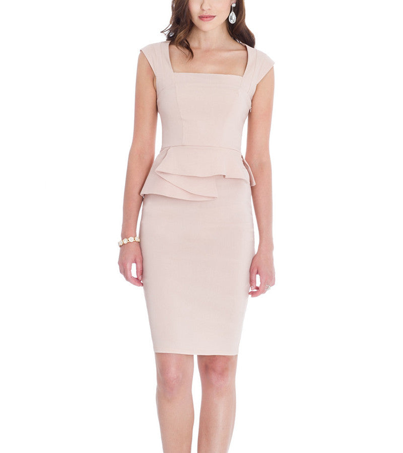 Keira Structure Peplum Cocktail Dress - My Royal Closet