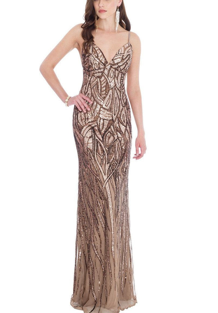 Alice Champagne and Chocolate Sequin Gown - My Royal Closet