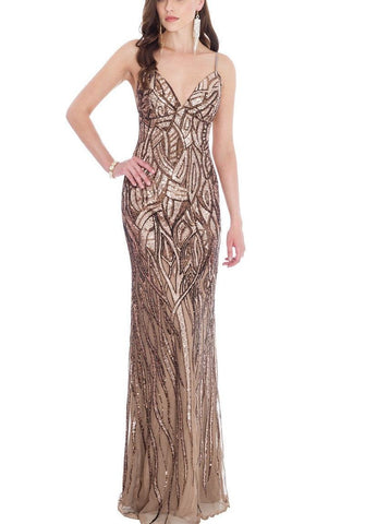 Champagne and Chocolate Sequin Gown