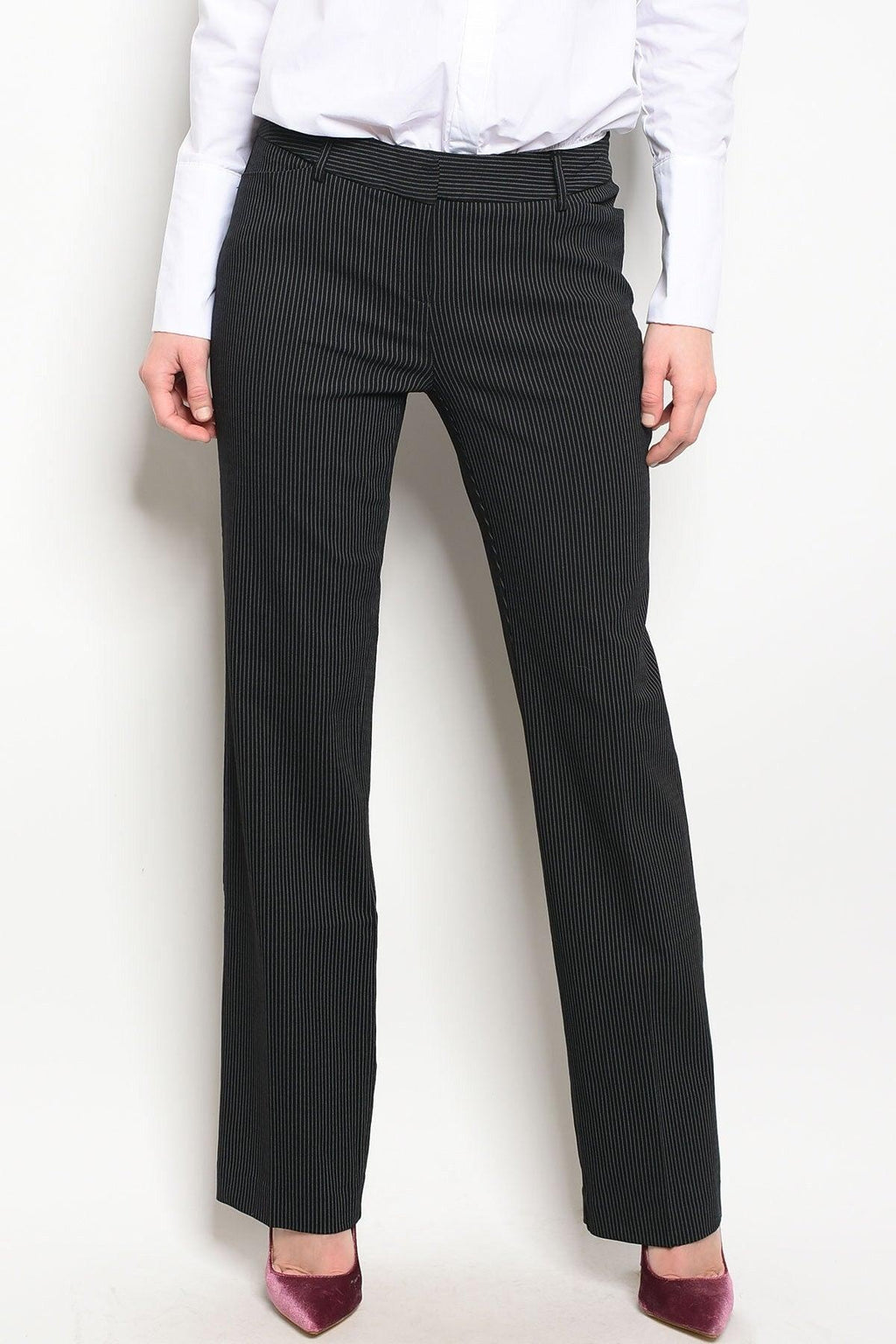 Pinstriped Black Slacks - My Royal Closet