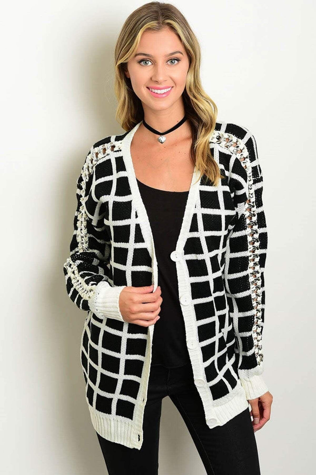Black & Ivory Cardigan Sweater - My Royal Closet