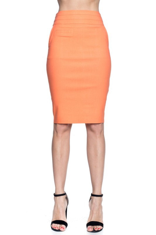Salmon High Waist Pencil Skirt - My Royal Closet