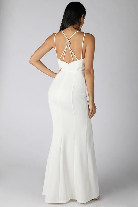 Ivy White Maxi Gown - My Royal Closet