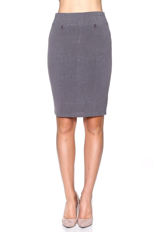 Charcoal Pencil Skirt - My Royal Closet